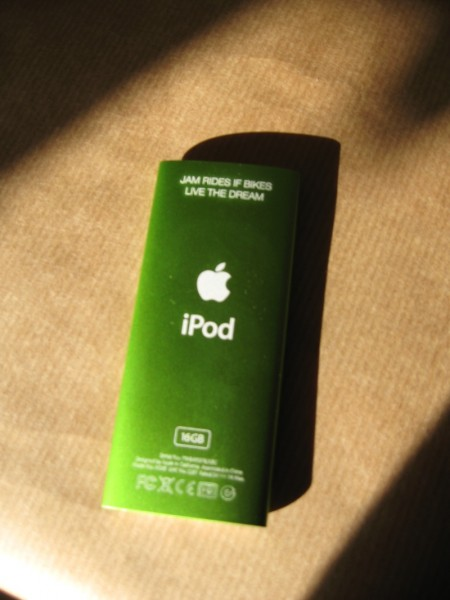 An iPod nano in a colour to match one of Jam's bikes