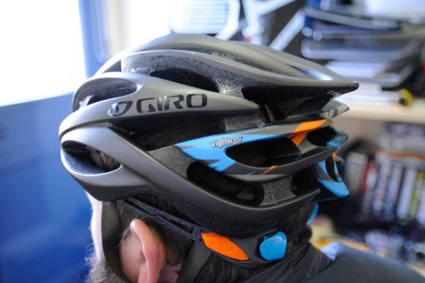 """Giro Atmos with """"interesting"""" colouring upon its rear."""