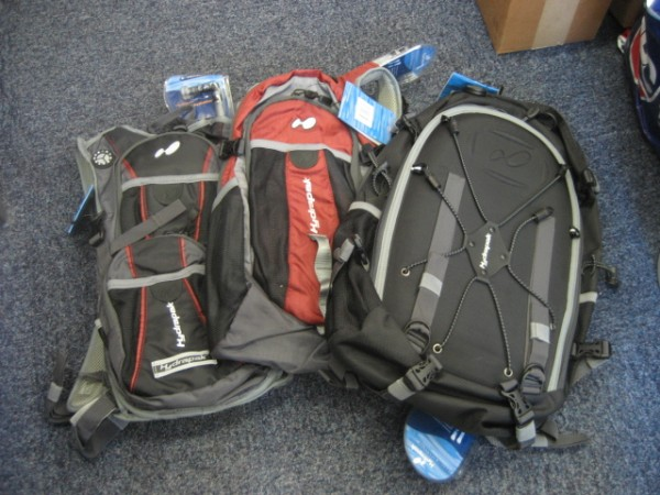 A bunch of bags from Hydrapak - the Big Sur, the Cruz and the El Barracho.