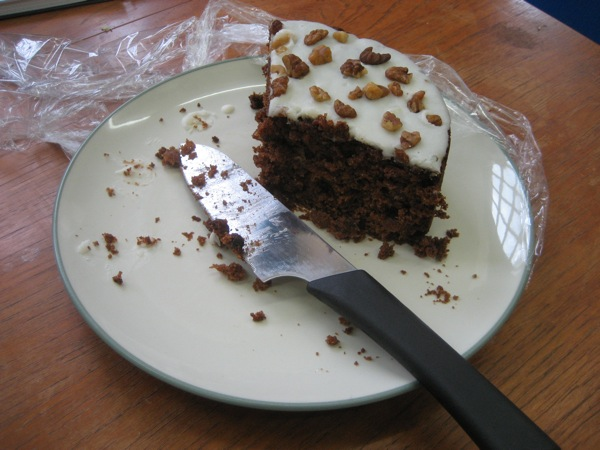 Carrot and walnut cake left over from Benji's birthday last week.