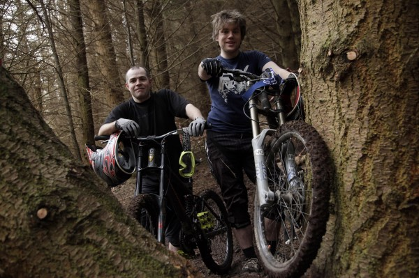 Trail builders Phil Grimes and Carl Davison.  Pic by Mark Pinder.