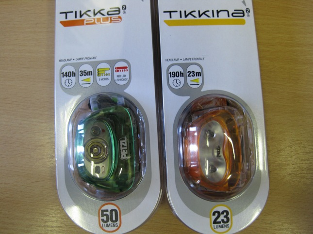 New head torches from Petzl - the Tikka Plus and the Tikkina.