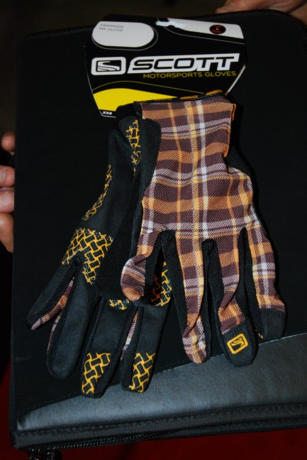 """Interestingly"" patterned riding gloves."