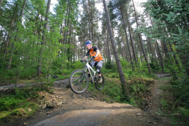 Gary Ewing tackles the new red trail in Hamsterley Forest. Pic by Mat Clark.