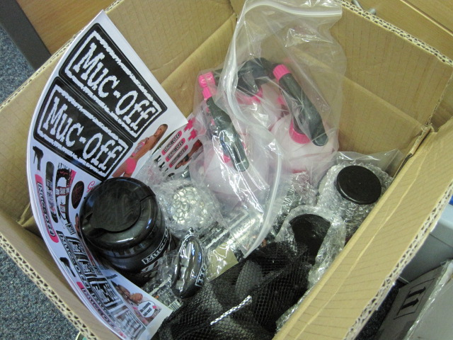 A box of pretty much everything that Muc-Off do!