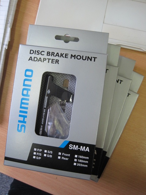 More useful stuff for bike builds - post-to-post disc brake mount from Shimano.
