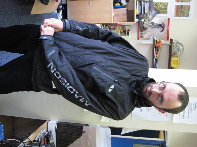 Sideways Benji modeling a Madison Evo jacket.