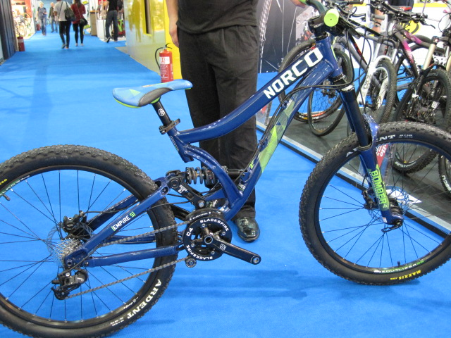 Norco Empire 5. Just five inches of travel but built for Freeride/Slopestyle/Whateverthrills 'n' spills. One of Ben's favourite bikes at the show.
