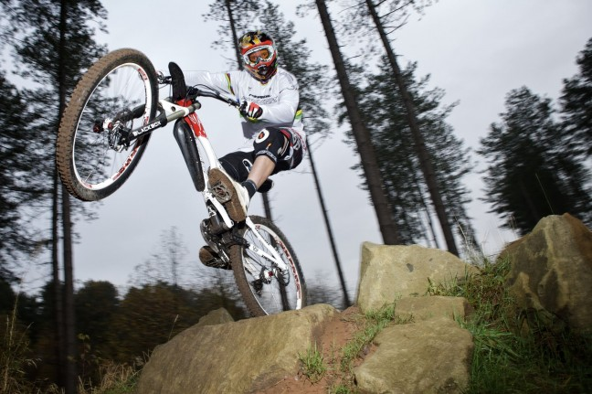 Steve Peat takes to the air in Sherwood Pines Forest Park to launch a new Discovery Pass for the woodland. Photo by Shaun Flannery.