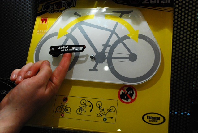 Zefal's anti-theft skewers. With the bike the right way up the levers cannot be opened...