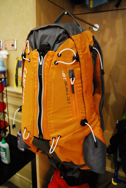 Camelbak Octane 18X. Another outdoors pack. Capacity: 16.4 litres (zipped up) to 20.9 litres (expanded).