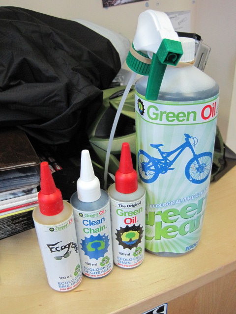 Lubes and stuff from eco-minded company Green Oil. Grease, Degreaser, Chain Oil (in a 100% recycled bottle) and Bike Cleaner.
